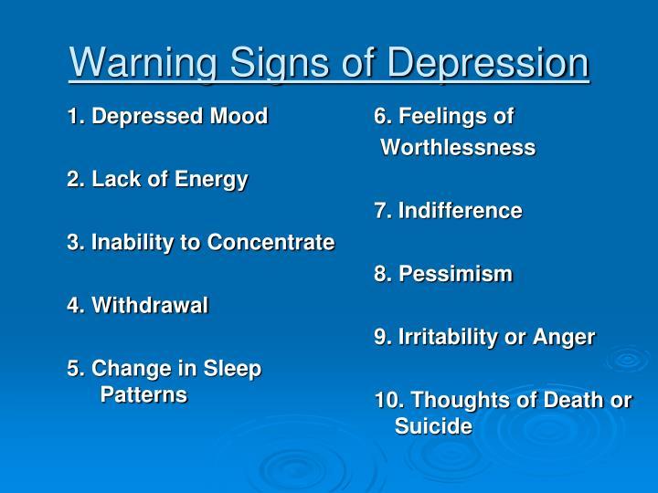 Warning signs of depression