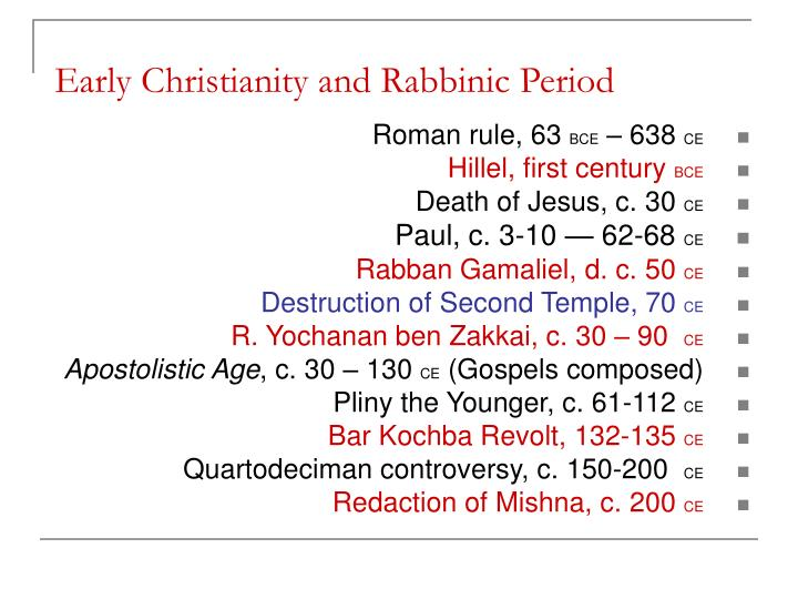 Early christianity and rabbinic period