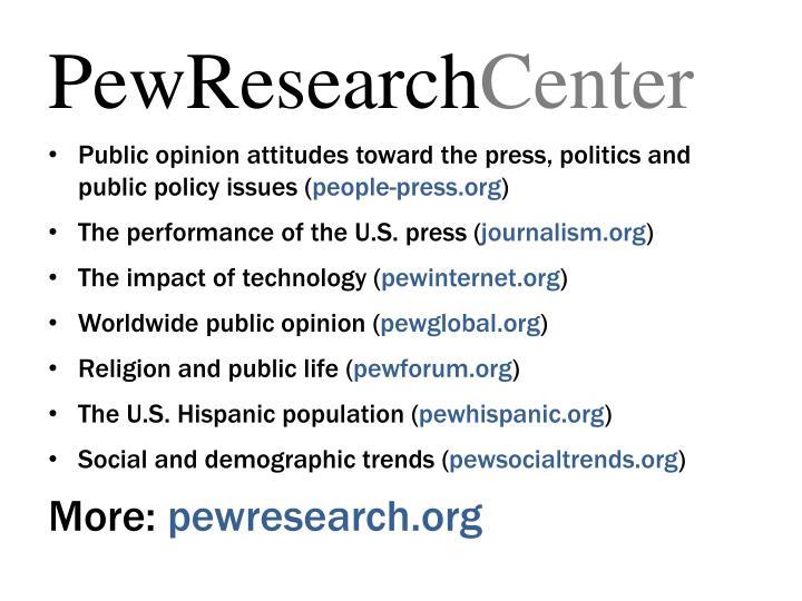 Public opinion attitudes toward the press, politics and public policy issues (