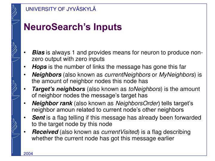 NeuroSearch's Inputs