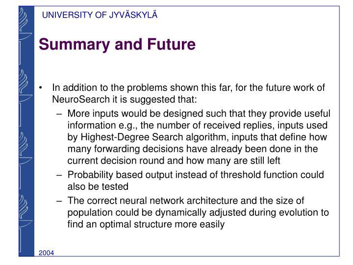 Summary and Future