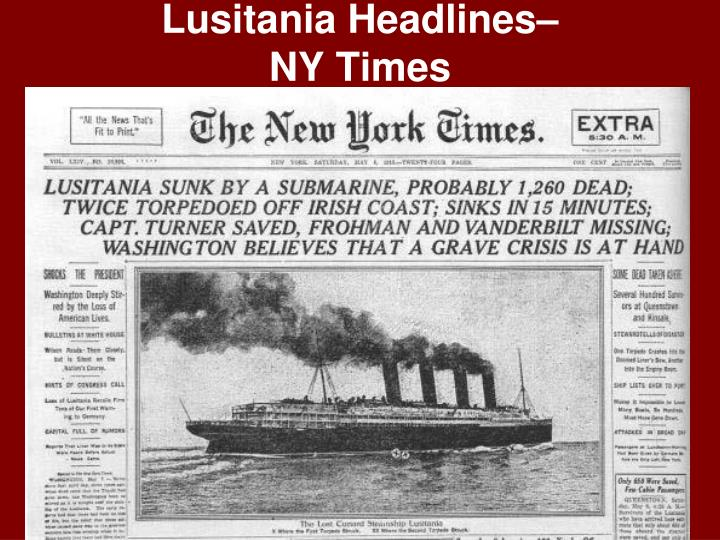 Lusitania Headlines–