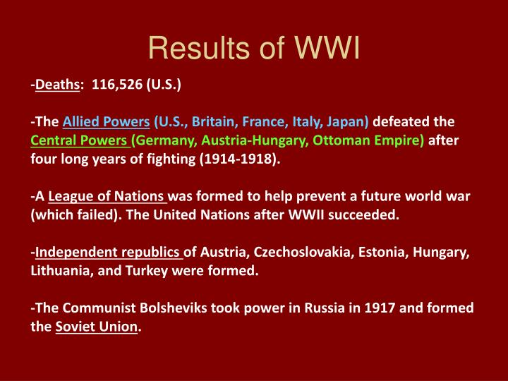 Results of WWI