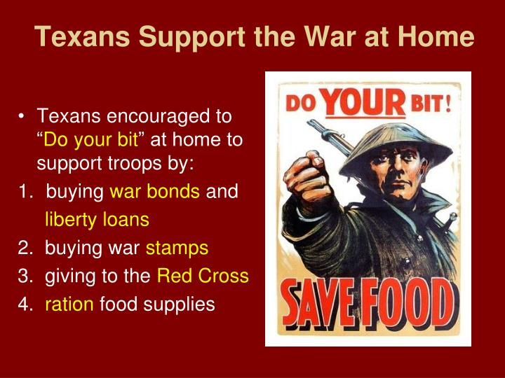 Texans Support the War at Home