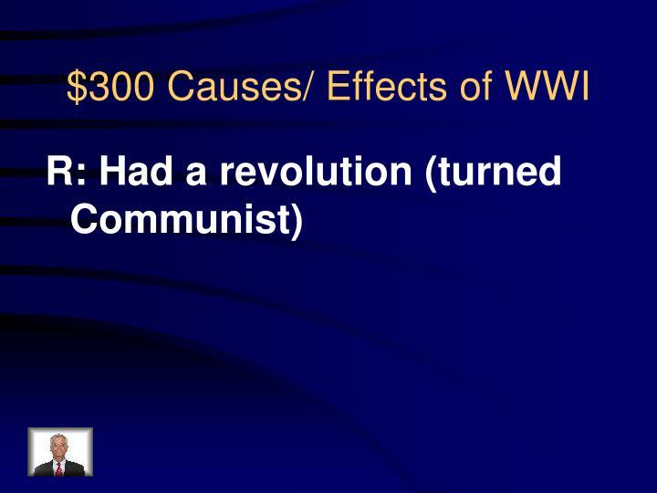 R: Had a revolution (turned Communist)