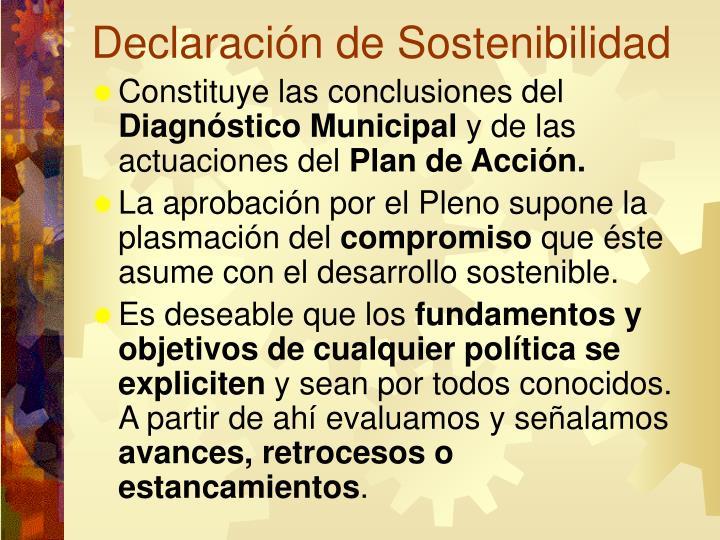 Declaración de Sostenibilidad