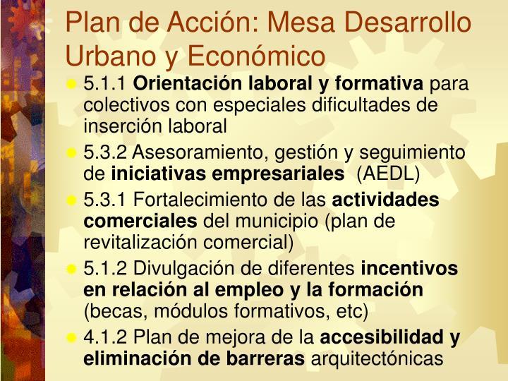 Plan de Acción: Mesa Desarrollo Urbano y Económico