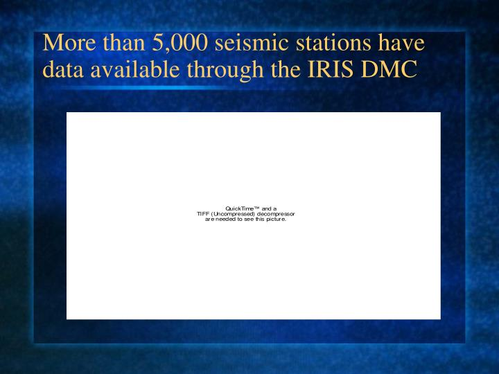 More than 5,000 seismic stations have data available through the IRIS DMC