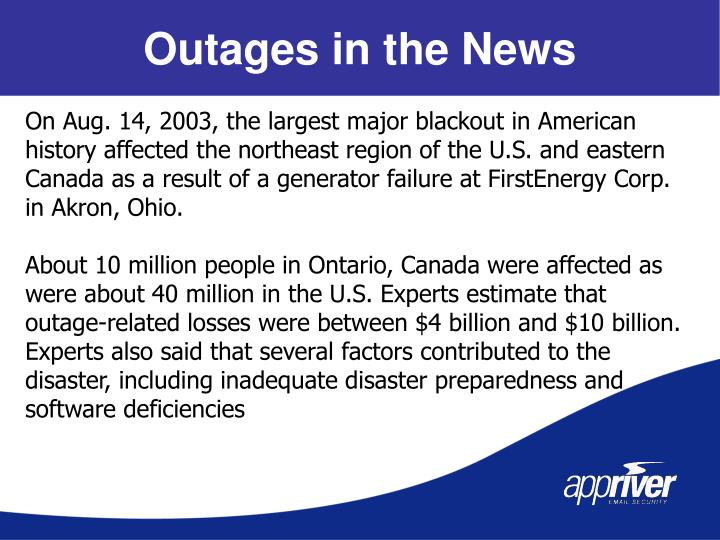 Outages in the News