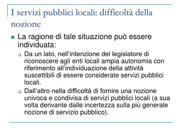 I servizi pubblici locali difficolt della nozione1