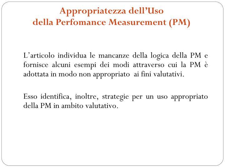 Appropriatezza dell uso della perfomance measurement pm