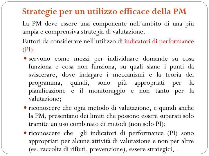 Strategie per un utilizzo efficace della PM