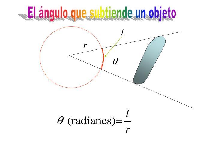 El ángulo que subtiende un objeto