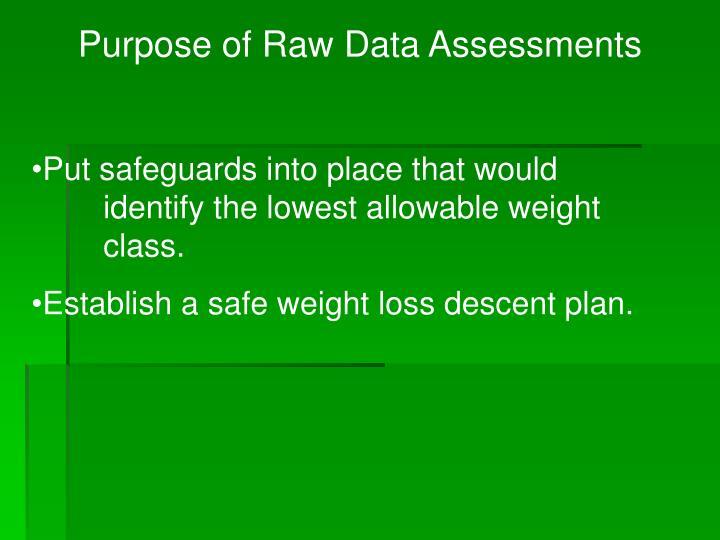 Purpose of Raw Data Assessments