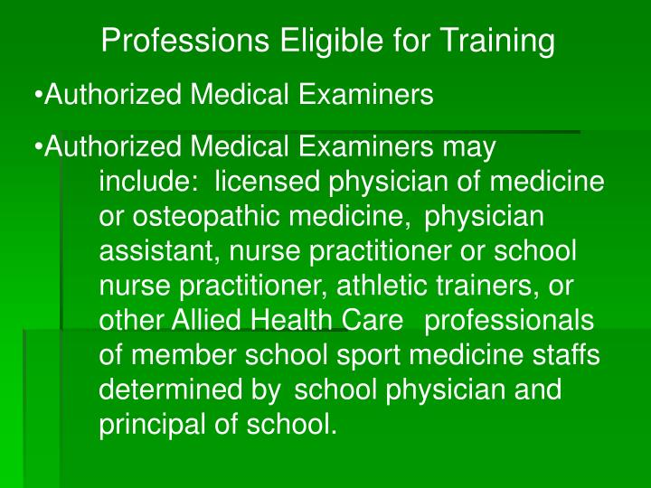 Professions Eligible for Training
