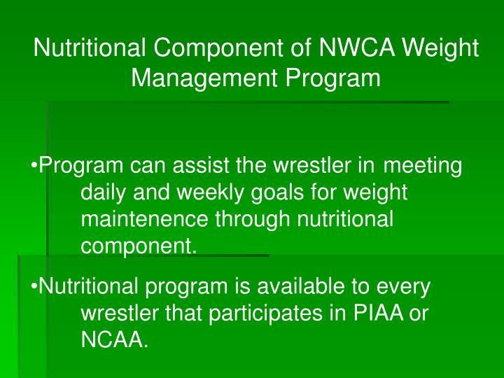 Nutritional Component of NWCA Weight Management Program