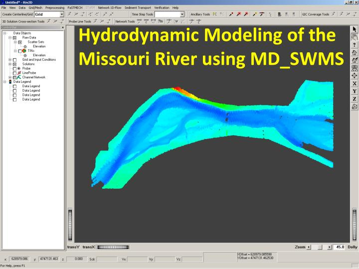 Hydrodynamic Modeling of the Missouri River using MD_SWMS