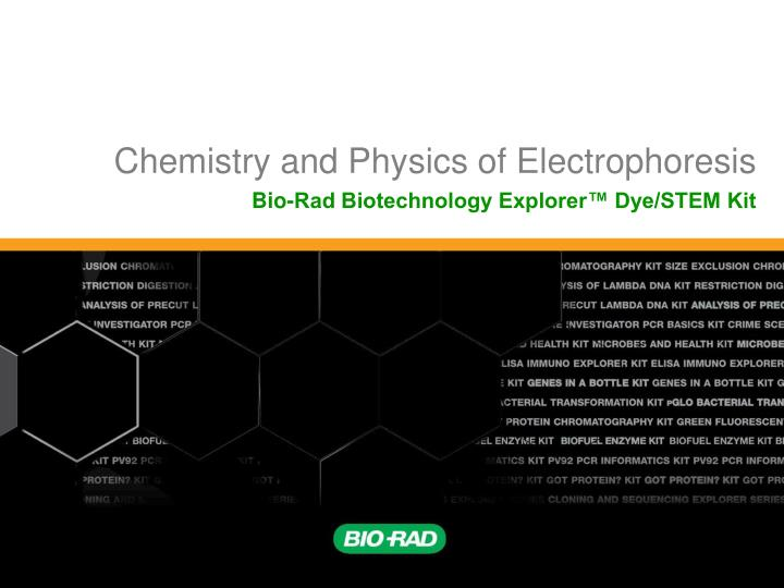 Chemistry and physics of electrophoresis
