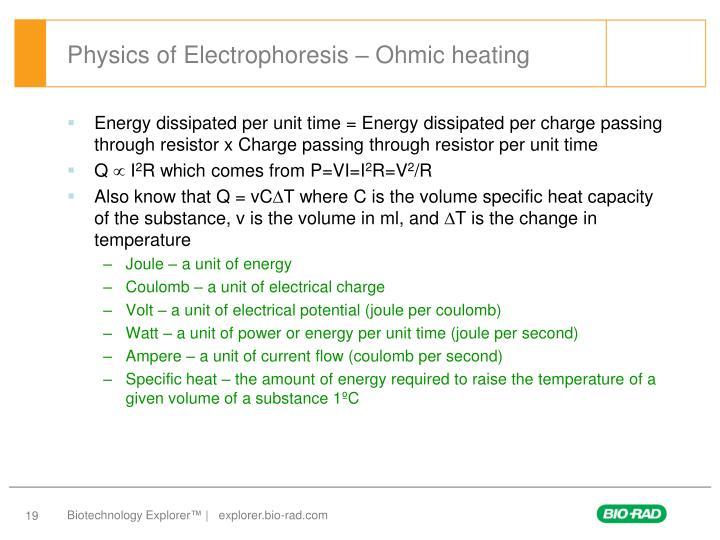 Physics of Electrophoresis – Ohmic heating