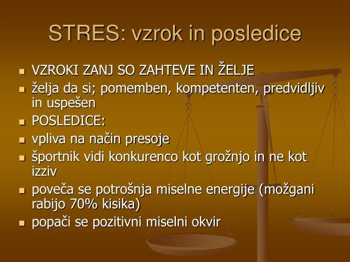 STRES: vzrok in posledice