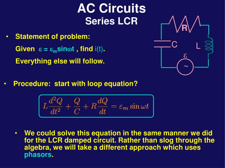 We could solve this equation in the same manner we did for the LCR damped circuit. Rather than slog through the algebra, we will take a different approach which uses