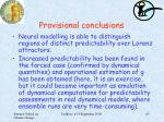 provisional conclusions