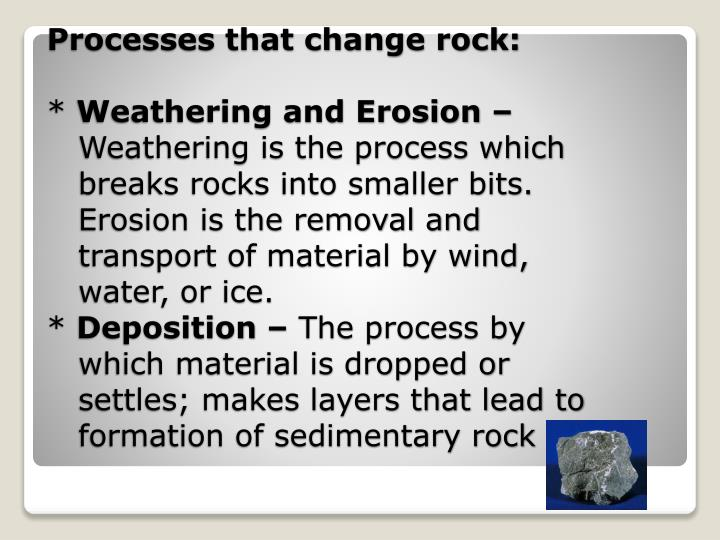 Processes that change rock: