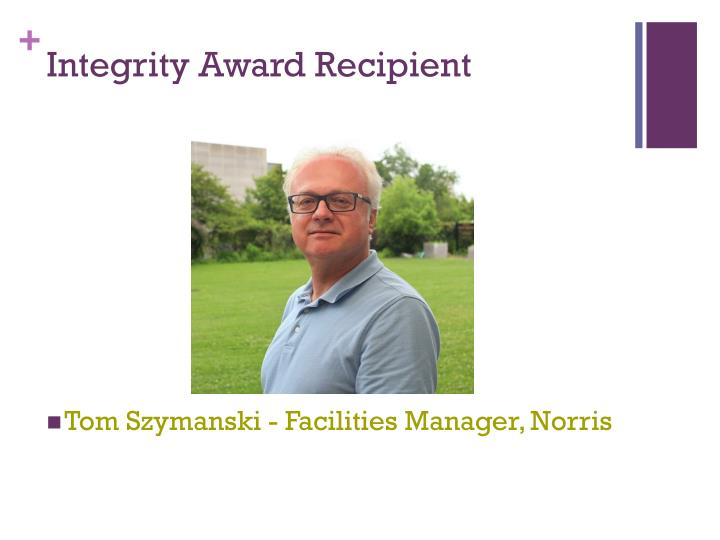 Integrity Award Recipient