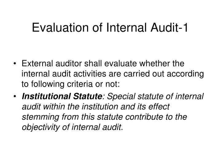 Evaluation of Internal Audit-1