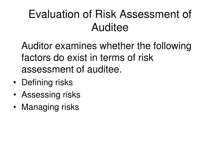Evaluation of Risk