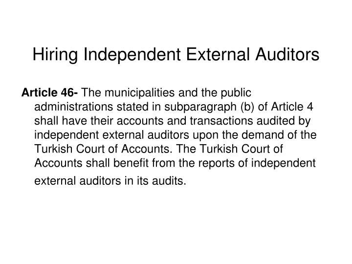 Hiring Independent External Auditors