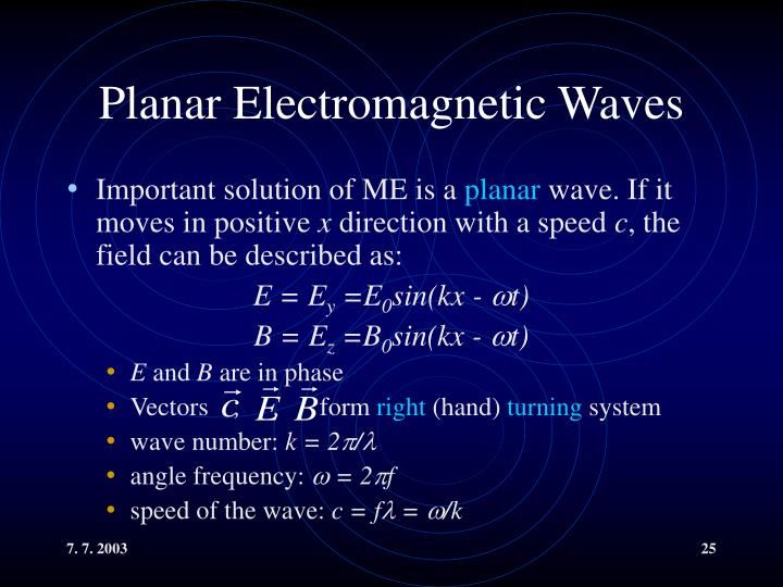 Planar Electromagnetic Waves