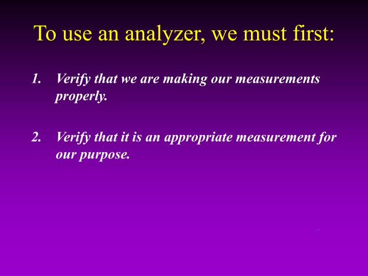 To use an analyzer, we must first: