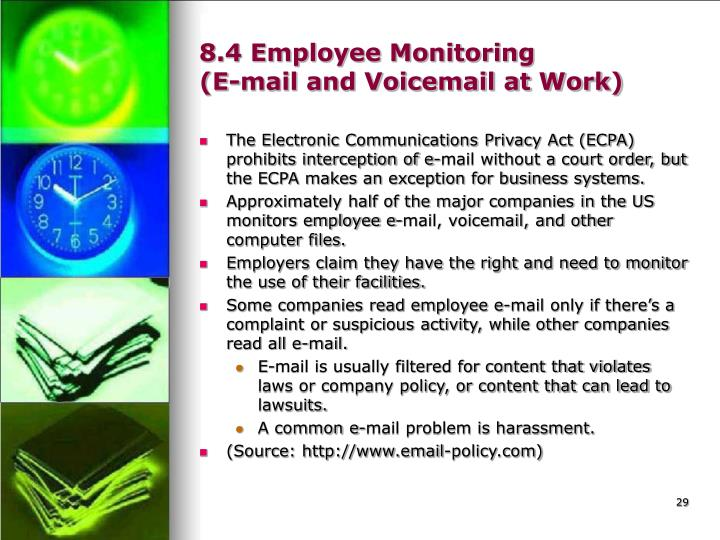 e mail monitoring of employees ethical social Learn more about monitoring employees, employee privacy, emails, trade secrets, confidentiality, and other legal issues at findlawcom employers understandably don't want employees surfing inappropriate websites, trading stocks, or playing poker while on the clock.