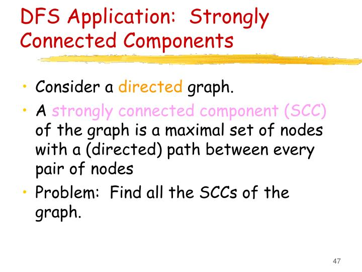 DFS Application:  Strongly Connected Components