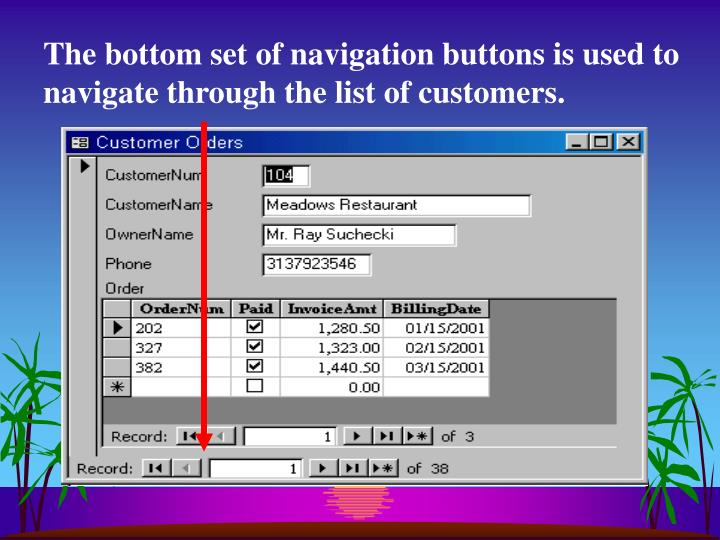 The bottom set of navigation buttons is used to navigate through the list of customers.