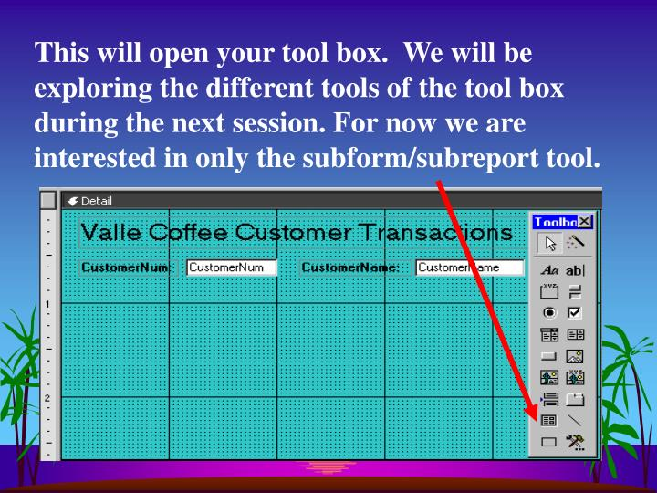 This will open your tool box.  We will be  exploring the different tools of the tool box during the next session. For now we are interested in only the subform/subreport tool.