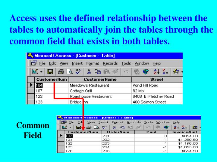 Access uses the defined relationship between the tables to automatically join the tables through the common field that exists in both tables.