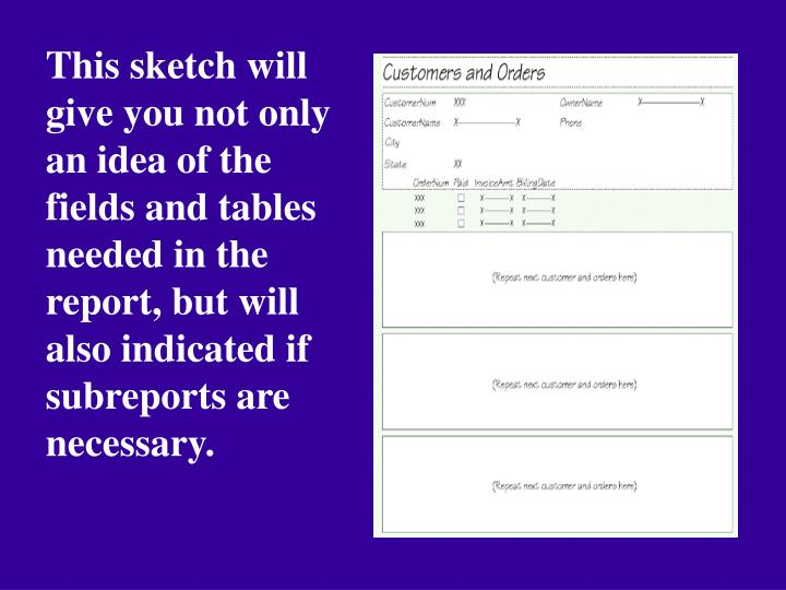 This sketch will give you not only an idea of the fields and tables needed in the report, but will also indicated if subreports are necessary.