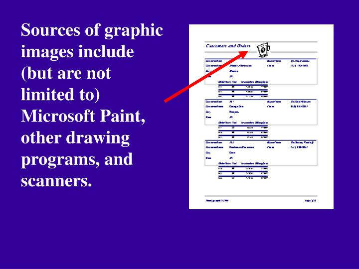 Sources of graphic images include (but are not limited to) Microsoft Paint, other drawing programs, and scanners.