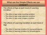 what are the simple effects we can analyse