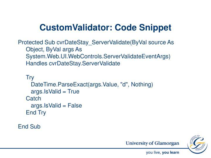 CustomValidator: Code Snippet