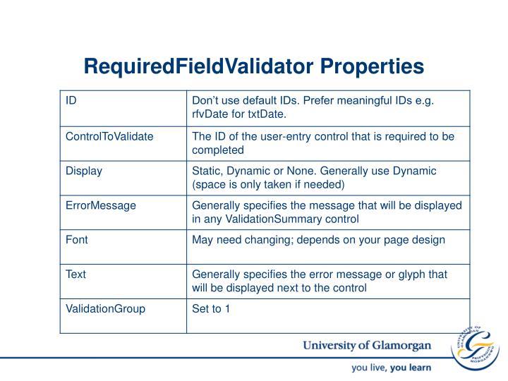 RequiredFieldValidator Properties