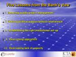 five lessons from the bank s view
