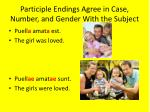 participle endings agree in case number and gender with the subject