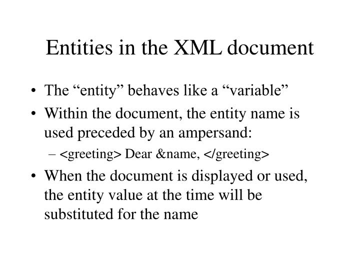 Entities in the XML document