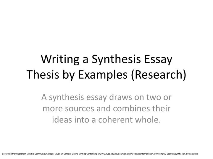 Writing a synthesis essay thesis by examples research
