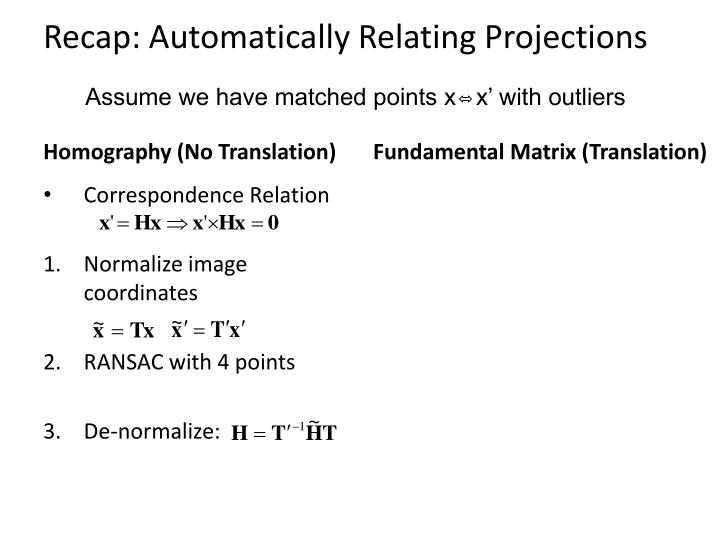 Recap: Automatically Relating Projections