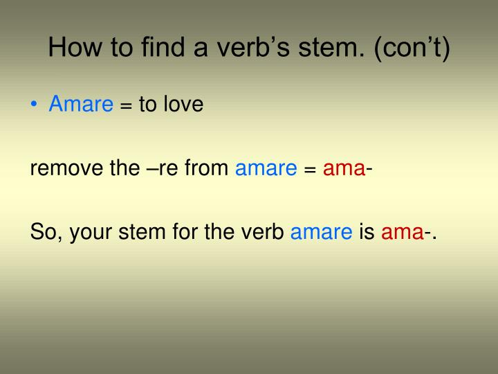 How to find a verb's stem. (con't)