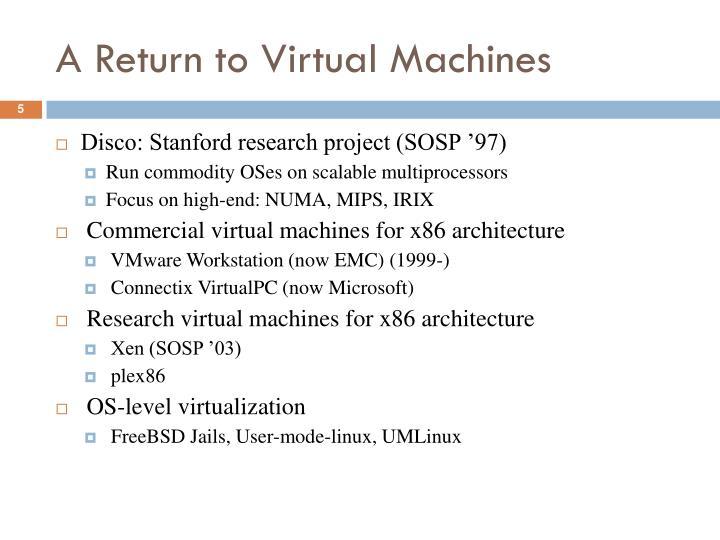 A Return to Virtual Machines
